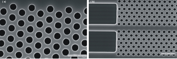 (a) Photonic crystals of 300nm pitch and 180nm hole  dia  and (b) W1 photonic crystal waveguide  fabricated by 193nm lithography technology.